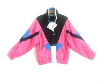 Vintage 80s  Jacket Chevron Color Block Windbreaker Westside Connection Medium