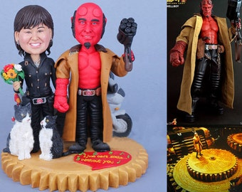 Hellboy Personalised wedding cake topper (Free shipping)