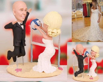 Personalised wedding cake topper - Volleyball match on the beach (Free shipping)