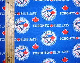 Toronto Blue Jays 6676B Blue & Red MLB Logo Cotton Fabric by Fabric Traditions! [Choose Your Cut Size]