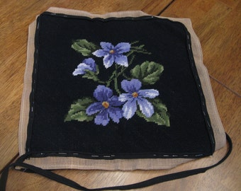 PURPLE VIOLETS NEEDLEPOINT-Completely Stitched-Awaiting Blocking and Finishing-Gardener Gift-Needlepoint Pillow