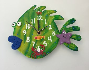 Kids Wall  Clock ,Nursery Wall Clock,Ocean, Under the sea,Aquarium ,Clay Fish  Wall Clock ,Beach Clock,Unique Clock,Handmade clock