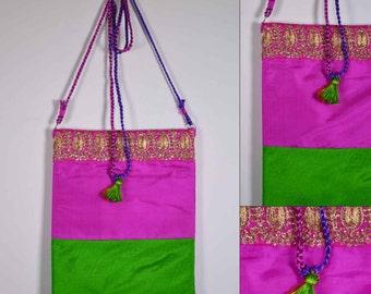 Emerald Green and Hot Pink Sling Bag - Wedding Gift - Silk Sling Bag - Gift for Girl Friend - Mother's Day Gift - Handmade OOAK Bag