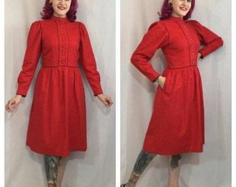 Vintage 1970's Red Lanz Prairie Dress