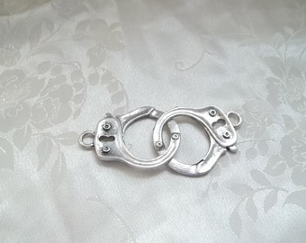 Large Handcuff Charm Pendant Hand Cuffs Handcuffs Antique Silver Metal 33mm #1119