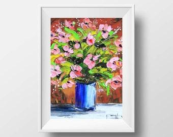 Pink Poppy Print, Poppies, Flower Artwork, Floral Painting, Romantic Art, Oil Painting, 8x10, Original Art, Textured Painting, Impasto