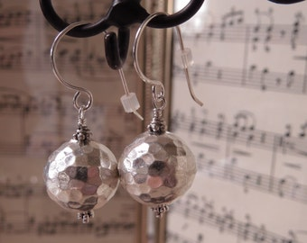 Sterling silver earrings hammered round dangly with sheppard's hooks OOAK design CreativeWorkStudios