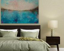 Pink Turquoise Art, Original Painting, Abstract Painting, Large Wall canvas, Wall Art, Wall Decor, Wall Hanging - 60 x 40 by Maria Sa