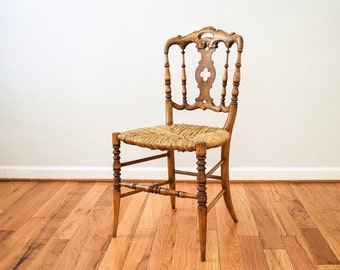 antique wood chair, antique chair, rush chair, unique antique chair with rush seat and beautiful ornate backrest