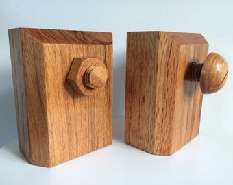 Handcrafted Solid Wood Nut And Bolt Design Bookends