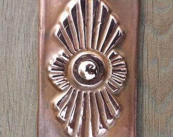 Art Deco Door Bell Push Button in Copper, handmade, shipped worldwide