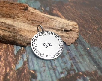 Running Jewelry She Believed She Could Motivational Charm for 26.2 Marathon Gift or 13.1 Half Marathon Perfect Gifts for Runners Cutomizable