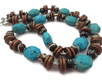 Chunky Turquoise Necklace, Tribal Necklace, Turquoise Bead, Chunky Brown Bead Necklace, Rustic Boho Necklace, Turquoise and Brown, Southwest