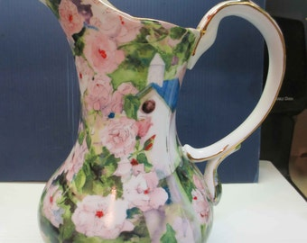 Judy Buswell Roses & Birdhouse Garden Shabby Chic Country Floral Porcelain Pitcher Vase