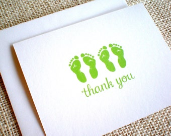 Twin Baby Footprint Thank You Cards with Envelopes - Set of 10 Green Footprints Twin Thank You Notes - Lime or Olive Green - Gender Neutral