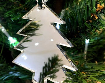 Set of 10 x Silver Mirrored Acrylic Christmas Tree Decorations
