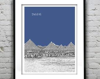 Tahiti Skyline Poster Art Print Version 1