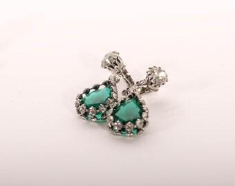 emerald crystal + rhinestone teardrop earrings vintage 1950s • Revival Vintage Boutique