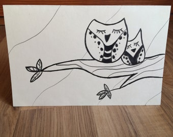 Hand Drawn Owls On A Branch Greeting Card