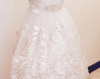 First Communion dress, lace communion dress
