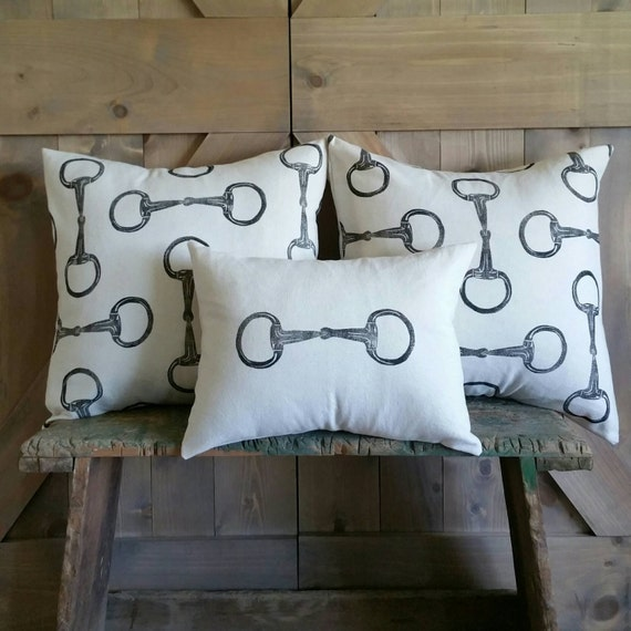 Equestrian Pillow Covers Set of Three- hand-printed egg butt snaffle bits- by Red Maple Run