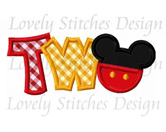 TWO Mickey Applique Machine Embroidery Design NO:0560