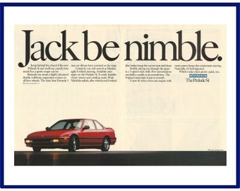 "HONDA PRELUDE Si Automobile Original 1990 Vintage Color Print Advertisement - Red 2-Door Car ""Jack Be Nimble."""