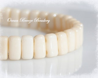 Czech Brick . 3 x 6mm . 2 Hole Bead . Opaque Champagne Luster . 50 beads