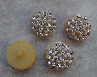 Vintage rhinestone buttons 50's retro