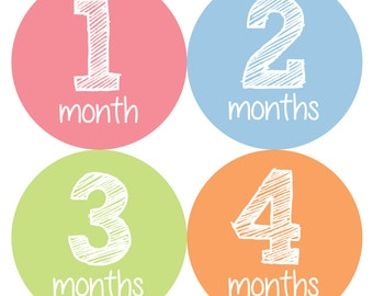 Baby Month Stickers, Monthly Baby Girl Stickers, Baby Month Milestone Stickers - Pink, Baby Girl