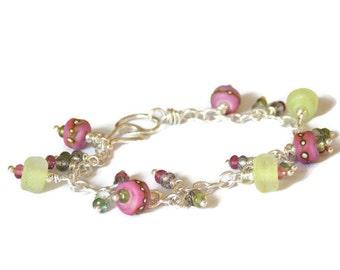 Purple and Lime Lampwork & Gemstone Charm Bracelet // Summer Bracelet // Luxe Glass Bracelet