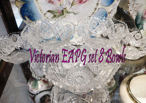 Antique Glass Bowls EAPG Victorian Early American Pressed Glass Set of Eight Bowls Wedding Country Cottage Home Decor