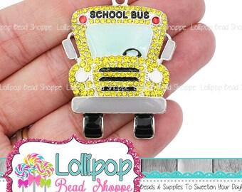 48mm Yellow School Bus Rhinestone Pendant Back To School Pendant Teacher Gift Chunky Necklace Pendant Bubblegum Beads Bus Charm RP323