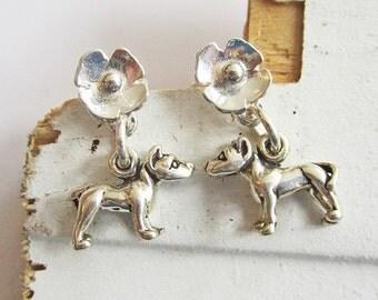 Pit Bull Mini Poppy Sterling Silver Earrings