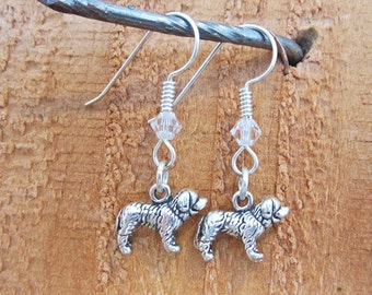 Saint Bernard Dangle Earrings - Sterling Silver Mini