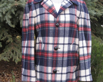 1960s-70s Mens Tartan Plaid  Wool Pendleton Coat/ Lined Wool Coat/ Pendleton Jackets Size Men XS-S/ Women M