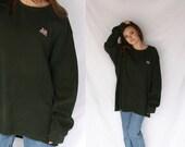Polo RALPH LAUREN 80s Logo Green Crew Neck Sweater Sweatshirt Long Sleeve 1980s Retro Hipster Extra Large XL