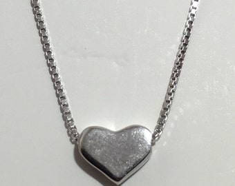 """Tiny Heart Minimalist Solid 925 Silver Necklace 16""""-18"""" BEAUTIFUL!"""