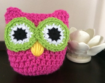 Crochet Owl, Pink and Green, Charity Donation