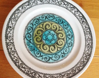 Vintage Kathie Winkle Broadhurst ironstone dinner plate AGINCOURT pattern in turquoise and olive colourway