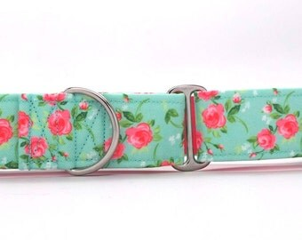 Aqua and Pink Roses CANVAS Dog Collar (Martingale, Buckle or Tag)