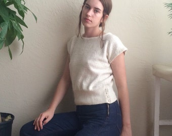80s Creme fuzzy Tee with Pearly Buttons