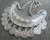 Silver Coin Necklace, Collar Necklace, Ethnic Coin Necklace, Primitive Coin Necklace, Metal Choker Necklace, Tribal Jewelry, Belly Dancing