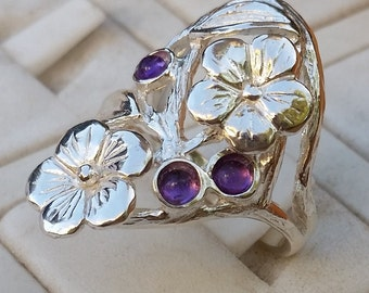 Flowers Silver Ring, Sterling Silver Ring, Multistone Gemstones Ring, Handmade Amethyst Ring, Statement Amethyst Ring, Valentine's Day