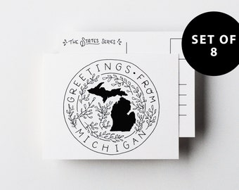 Set of 8 - Greetings from Michigan - A2 Postcard