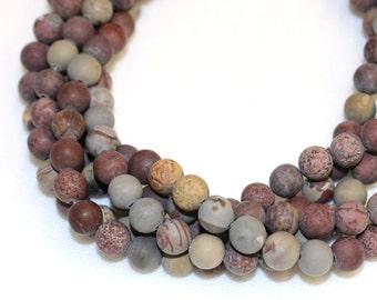8mm Matte Limestone Gemstone for Mala and Jewellery Making 16 Inch Strand, Approx 48 Beads