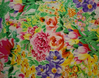 """Garden Paradise Foil Print #41 100% Cotton Quilting Fabric Fabri-Quilt Designer Print 45"""" Wide By The Half Yard"""
