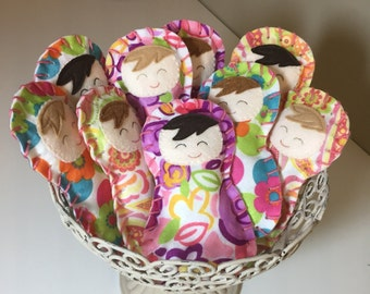 "Sew Your Own Snuggly Doll Kit, Sew Your Own 7"" Doll, Create Your Own Felt Doll, Learn to Sew Choice of Prints, Ready to Ship!"