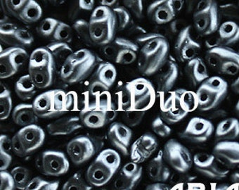 PASTEL HEMATITE: MiniDuo Two-Hole Czech Glass Seed Beads, 2x4mm (5 grams)