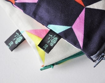 Tangram Pouch, hand sewn tangram geometric triangle fabric, jewellery cosmetic zip purse, fully lined